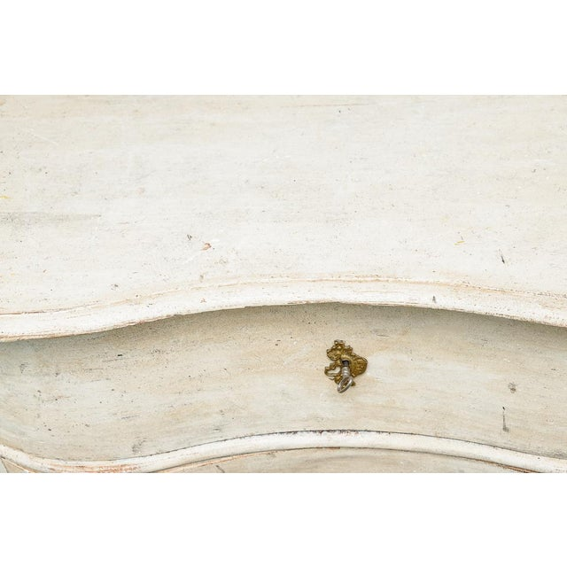 Off-white Antique 18Th. C. Swedish Painted Wood Three Drawer Chest, Gustavian For Sale - Image 8 of 13
