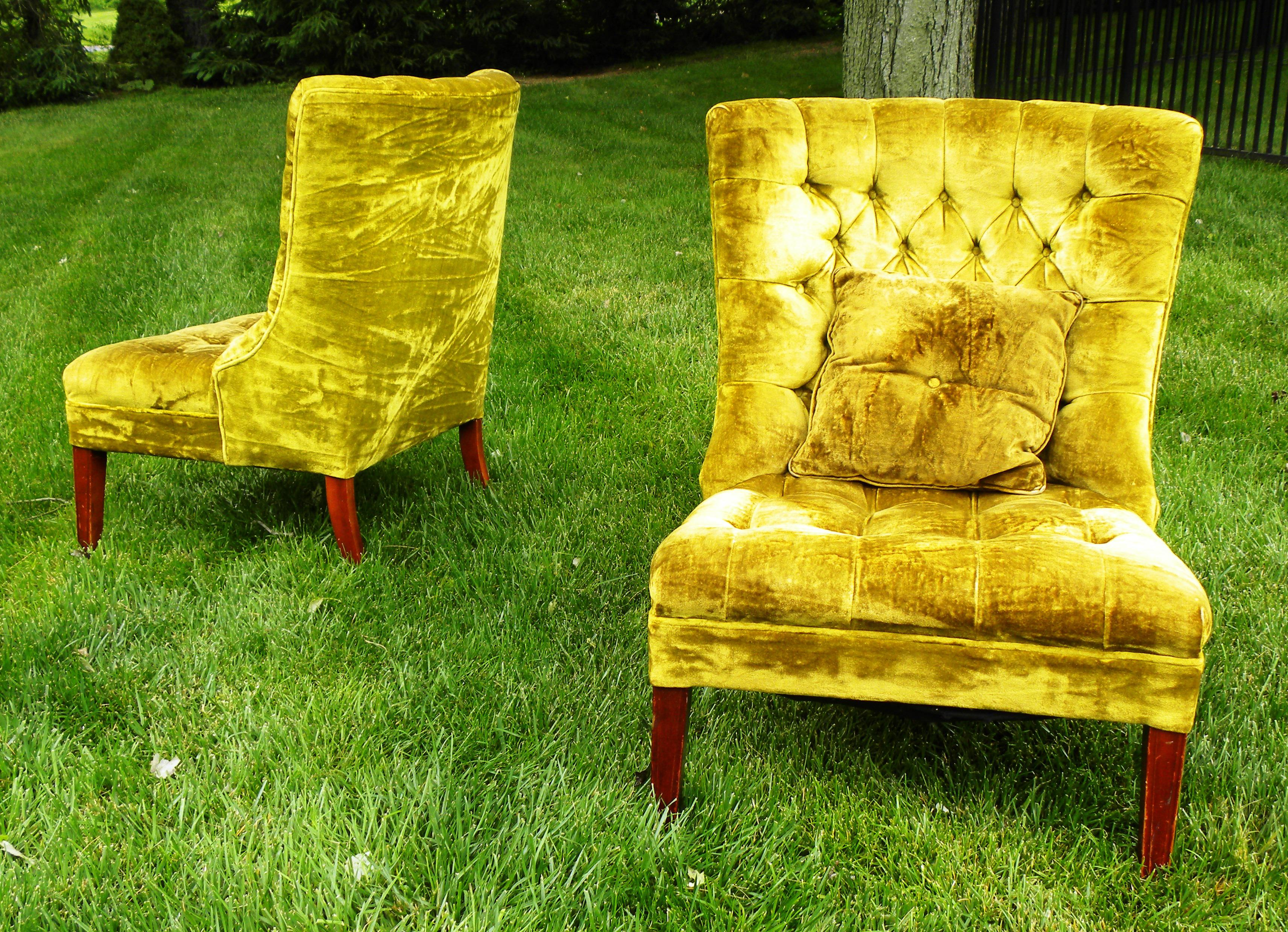 Great Vintage Chartreuse Velvet Accent Chairs A Pair Image Of With Chartreuse  Velvet Sofa.