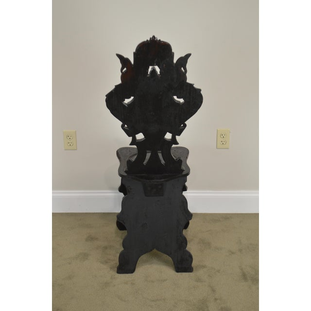 Italian Renaissance Antique Phoenix Carved Walnut Hall Chair For Sale - Image 9 of 13