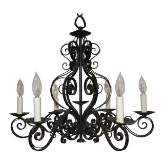 Vintage French Country Iron Chandelier For Sale