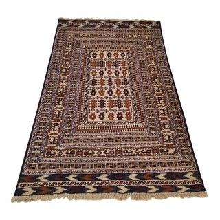 "Afghan Flat Woven Hand Knotted Rug - 4'3"" X 6'6"" For Sale"