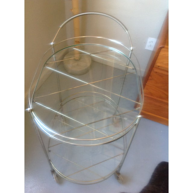 Mid-Century Silver Toned Bar Cart For Sale - Image 4 of 5