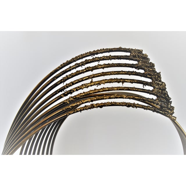 Curtis C. Jere Mid-Century Modern Vintage Brass Brutalist Kinetic Table Sculpture MCM Millennial - Image 8 of 11