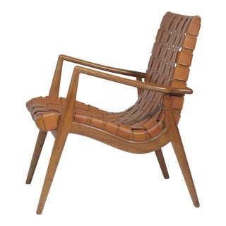 Vintage Mid Century Mel Smilow Walnut Leather Strap Armchair For Sale