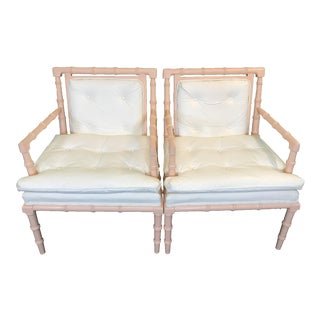 Vintage Palm Beach Regency Bassett Faux Bamboo Chairs-Pair For Sale