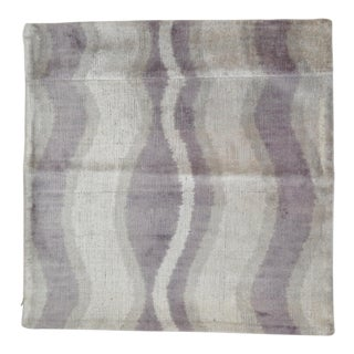 Purple Wavy Line Pattern Silk Velvet Pillow For Sale