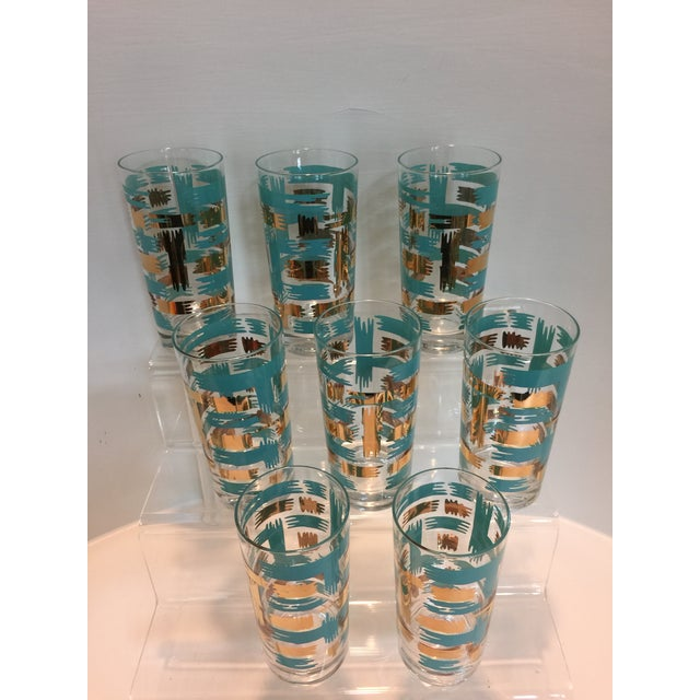 Set of 8 Mid Century Vintage Turquouse and Gold Brush Stroke Highball Tumbler Glasses - Image 4 of 5
