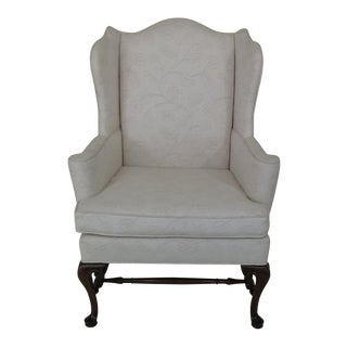Hickory Chair Co. Off White Upholstered Wing Chair For Sale