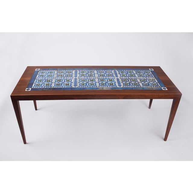 1960s 1960s Severin Hansen Danish Modern Rosewood with Ceramic Tiles Coffee Table For Sale - Image 5 of 8