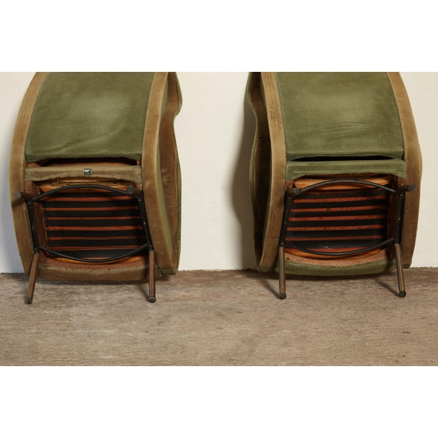 Gold Marco Zanuso Senior Chairs, Arflex, Italy, 1960s - for Re-Upholstery For Sale - Image 8 of 10