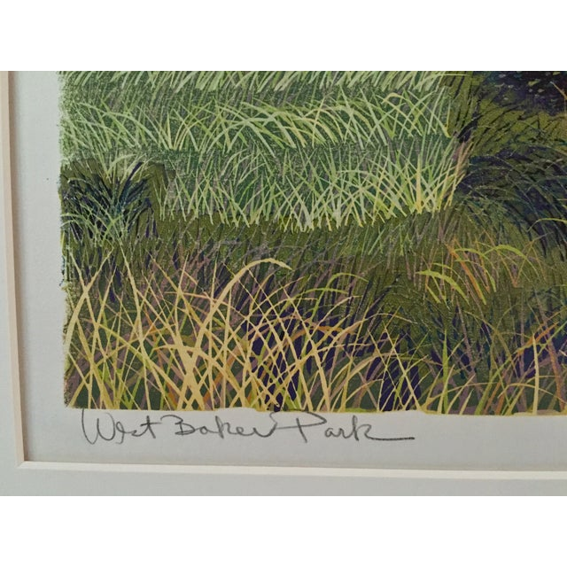 West Baker Park Color Woodcut by Mortensen For Sale In New York - Image 6 of 7
