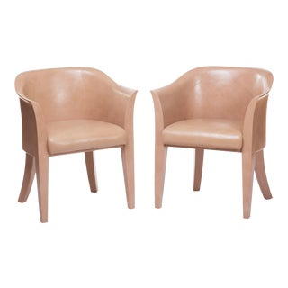 "Karl Springer Nude Leather ""Tulip"" Armchairs - a Pair For Sale"