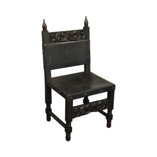 Carved Spanish Renaissance Style Vintage Side Chair For Sale