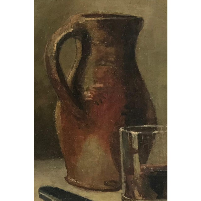 20th C. Wine and Cheese Still Life Painting For Sale - Image 4 of 10