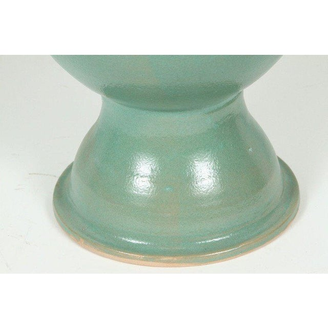 Islamic Moroccan Pair of Turquoise Handcrafted Ceramic Vases For Sale - Image 3 of 9
