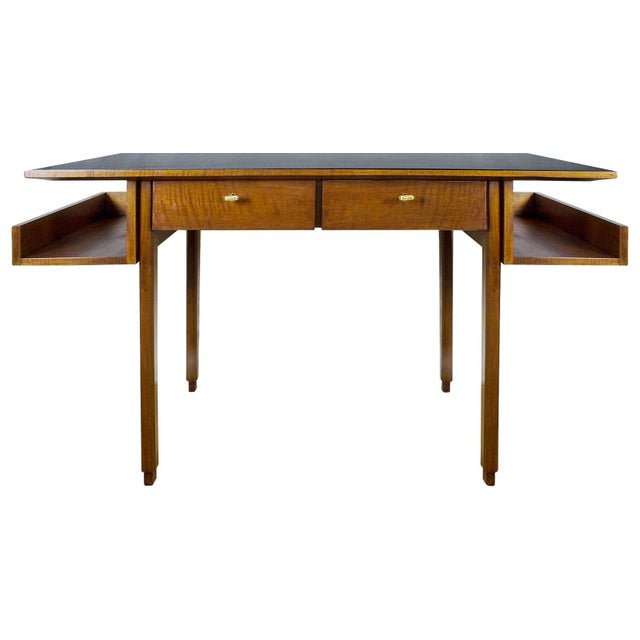 1970s Rationalist Desk by Pietro Bossi, Waxed Walnut, Brass, Formica - Italy For Sale - Image 13 of 13