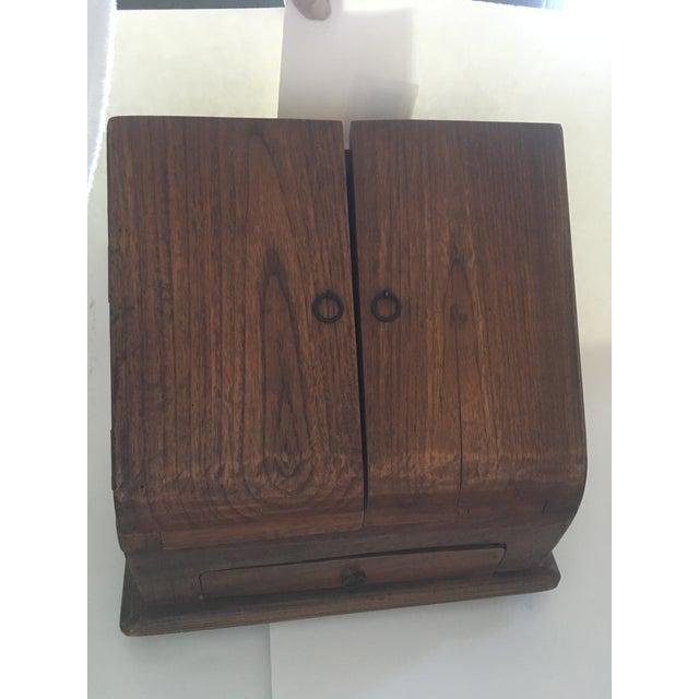 Vintage Rustic Wooden Desktop Cabinet Storage Organizer For Sale - Image 13 of 13