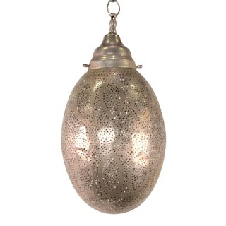 Moroccan Egg-Shaped Brass Lantern - Medium Silver For Sale