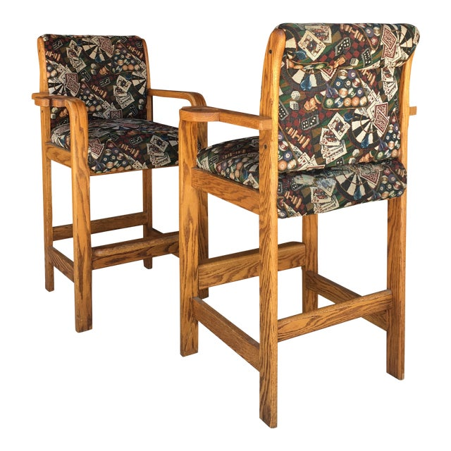 Vintage Mid Century Barstools- A Pair For Sale