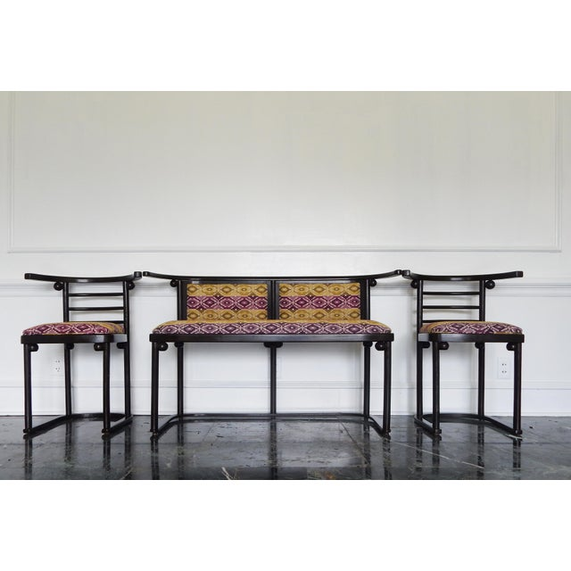 Fledermaus Parlor Set by Josef Hoffmann circa 1907 Bentwood Chair (2): 28.74 in.H x 15.75 in.W x 16.93 in.D Settee: 28.74...
