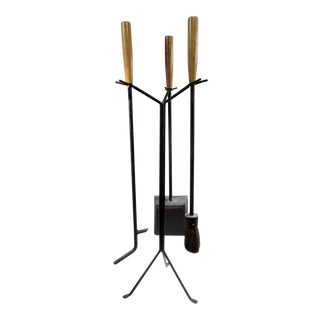 George Nelson 1960s Original Howard Miller Stand Fireplace Tool Set For Sale