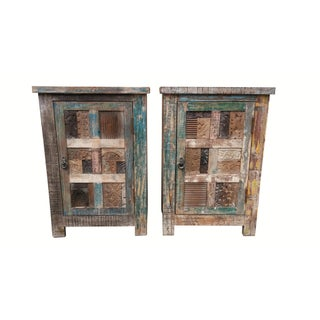 Rustic Indian Nightstands - a Pair