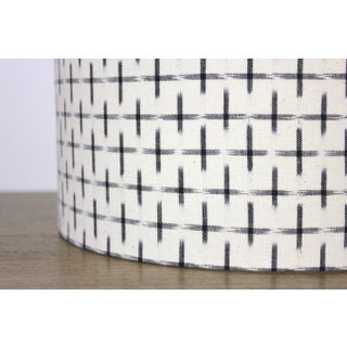 Modern Karuso Handwoven Dyed Ikat Fabric Drum Lampshade in Natural and Black Preview
