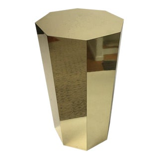 Paul Evans Style Octagonal Brass Pedestal For Sale
