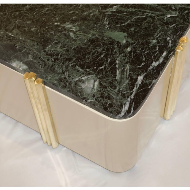 1970s 1970s Art Deco Green Marble and Cream White Lacquered Coffee Table or Bench For Sale - Image 5 of 7