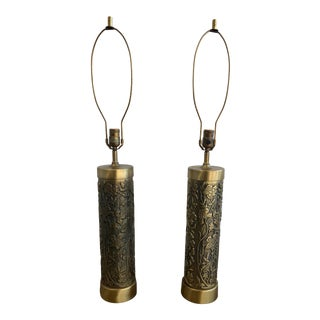 Mid Century Westwood Brass Floral Table Lamps For Sale