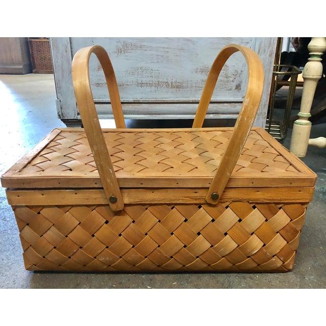 Wood Vintage Wood Picnic Basket For Sale - Image 7 of 7