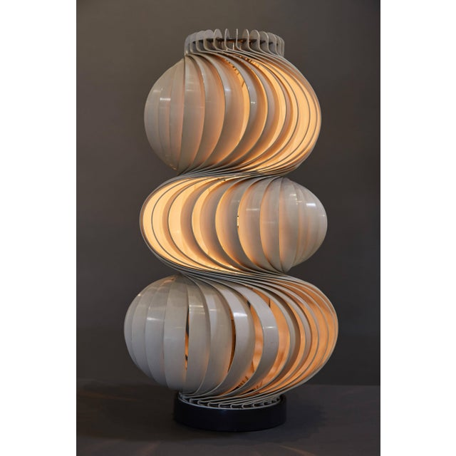 "A stunning Olaf von Bohr ""Medusa"" table lamp, in enameled aluminum and steel with an attractive spiral design. Please note..."