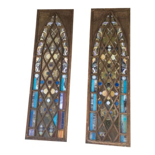 Danish Modern Stained Glass Windows - a Pair For Sale