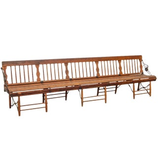 1920s Wooden Railroad Bench For Sale