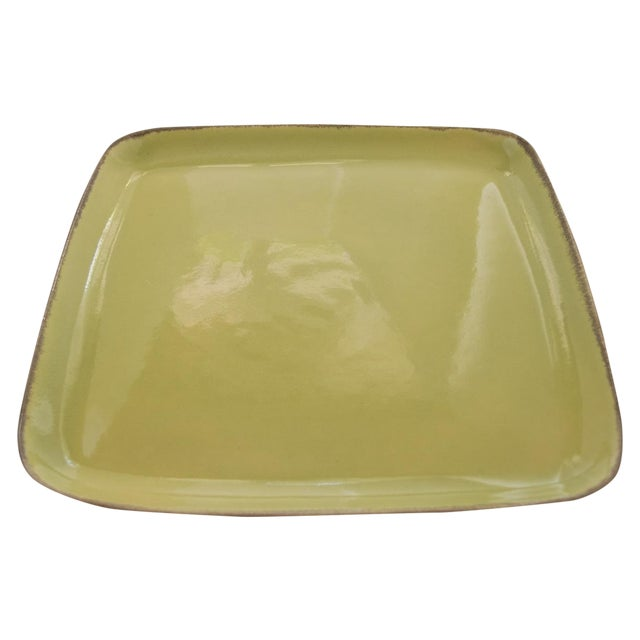 "Winfield Pasadena Chartreuse 14"" Square Platter For Sale"