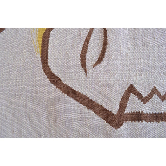 Textile Picasso - Woman With Yellow Hair Inspired Hand Woven Area Rug Wall Rug Kilim - 4′6″ × 5′ For Sale - Image 7 of 11