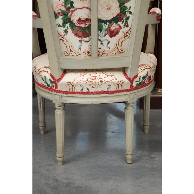 Louis XVI Style Painted Armchairs - a Pair For Sale - Image 9 of 13