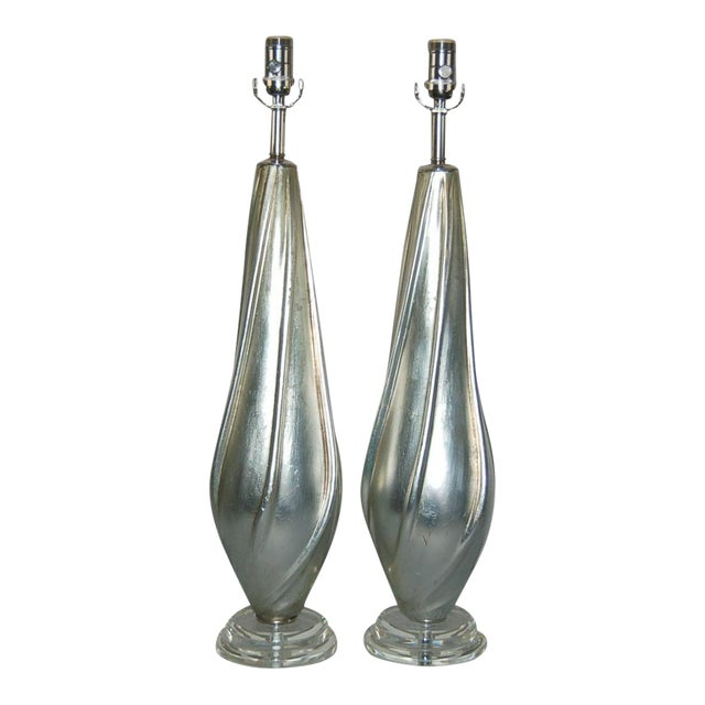 Silver Leafed Table Lamps by Swank Lighting For Sale