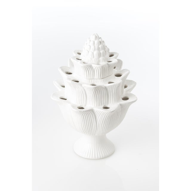 Contemporary Small White Artichoke Tulipiere For Sale - Image 3 of 4
