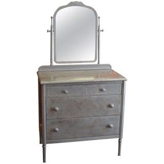 Dresser of Steel With Mirror by Simmons, Circa 1930s For Sale