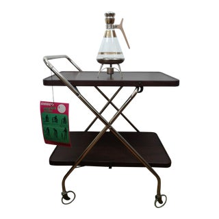 Vintage Cosco Serving Cart & Matching Coffee Pot For Sale
