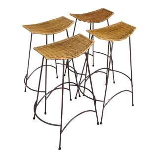Vintage Mid-Century Arthur Umanoff Style Barstool Bar Stools - Set of 4 For Sale