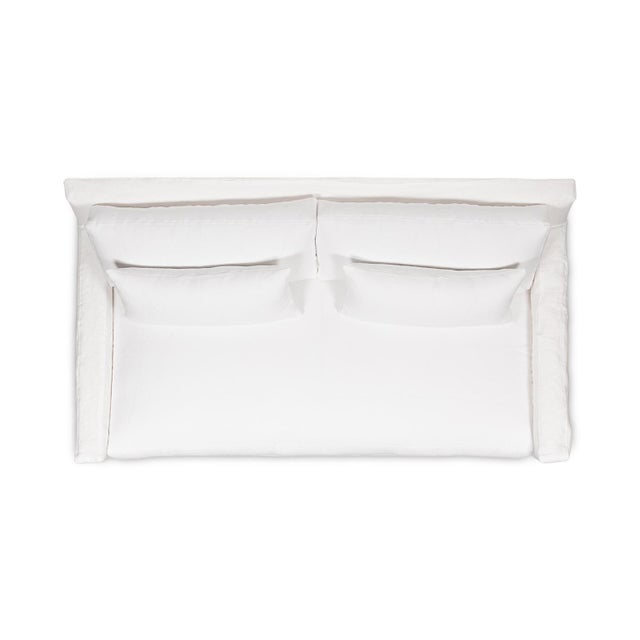 Not Yet Made - Made To Order Moss Home Kathy Loveseat Oasis Optic White Linen For Sale - Image 5 of 7