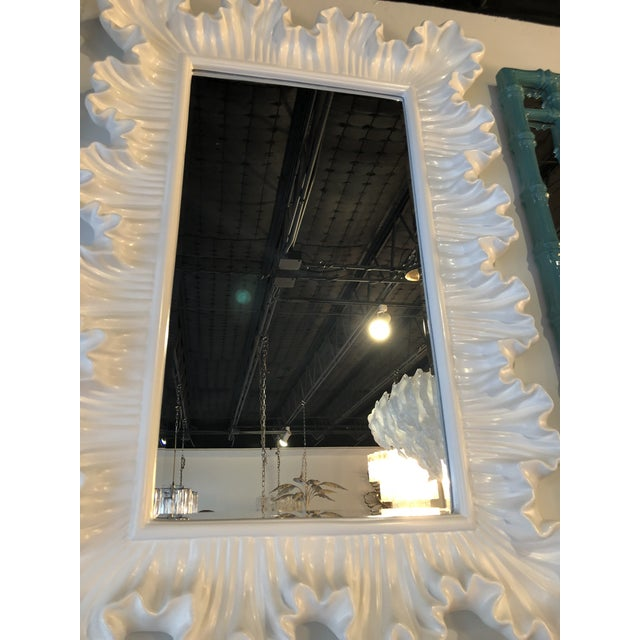 Vintage Hollywood Regency Lacquered White Ruffle Scalloped Wall Mirror For Sale In West Palm - Image 6 of 12