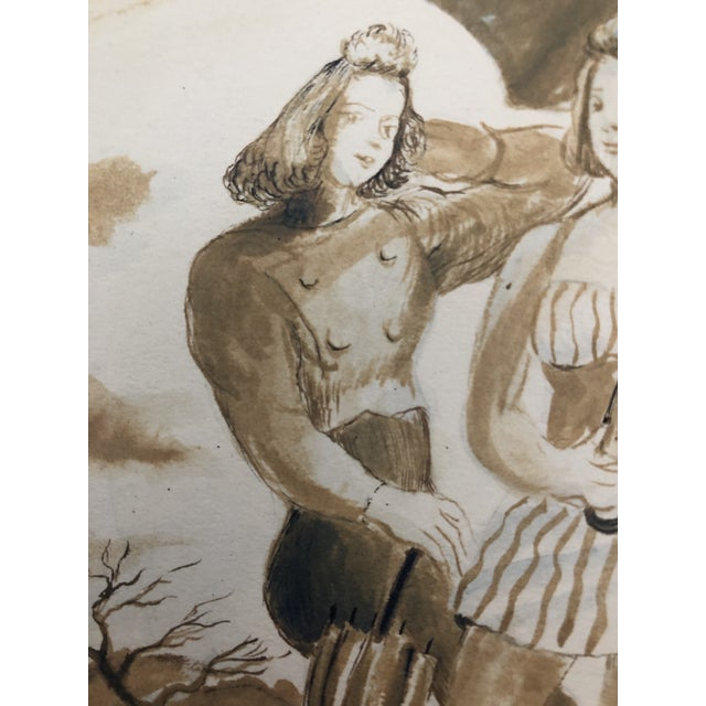 Figurative Two Ladies Posing the Beach, Watercolor by William Palmer, 1940 For Sale - Image 3 of 8