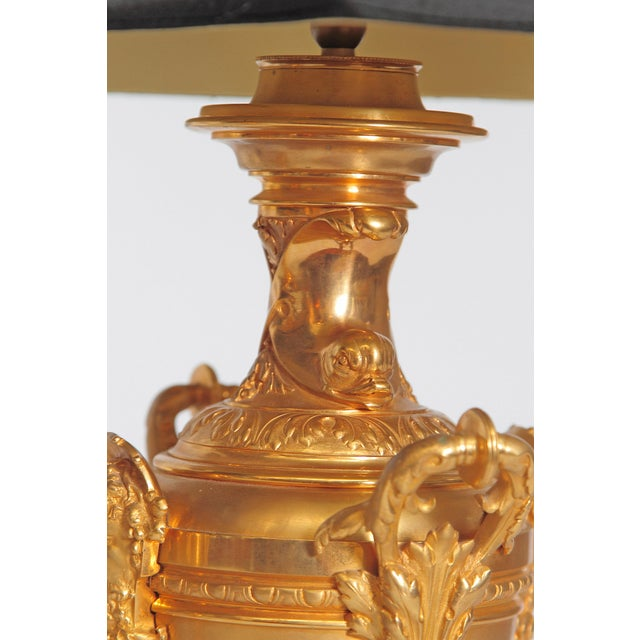 Metal 19th Century Continental Pair of Gilt Metal Vases as Lamps For Sale - Image 7 of 13