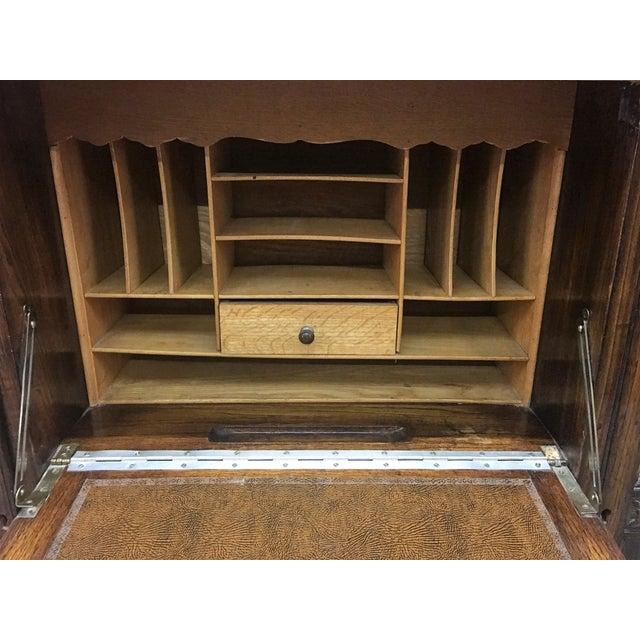 Antique Carved Wood Secretary Desk - Image 4 of 11