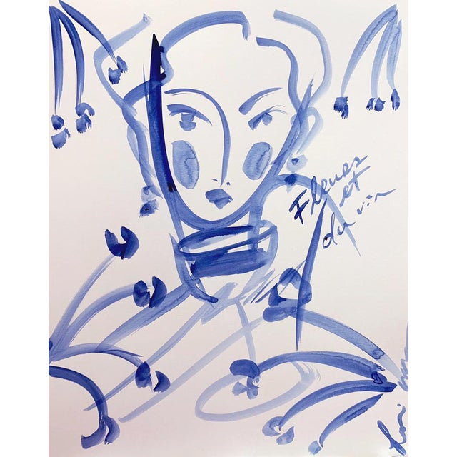 Expressionism Flowers and Wine in Indigo Colette For Sale - Image 3 of 3