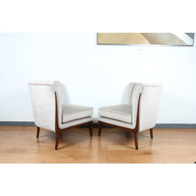 Mohair Hollywood Regency Pair of Chairs For Sale - Image 4 of 13