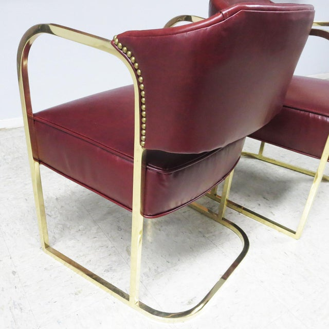 1930s Art Deco - Mid Century Lounge Chairs – Polished Brass – Leather For Sale - Image 5 of 9